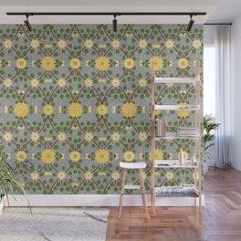 Wild Rose Garden Pattern Yellow Wall Mural