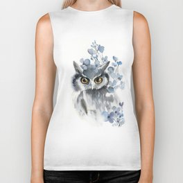 Owl and blue florals Biker Tank