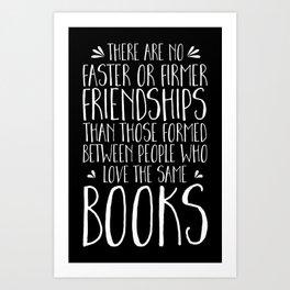 Bookish Friendship (inverted) Art Print