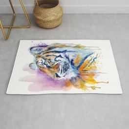 Young Tiger Watercolor Portrait Rug
