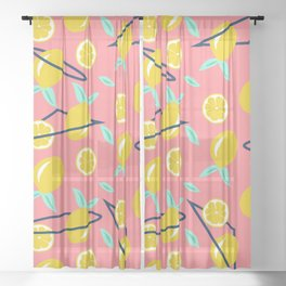 Lemons party #society6 #decor #buyart Sheer Curtain