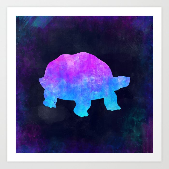 TORTOISE IN SPACE // Animal Graphic Art // Watercolor Canvas Painting // Modern Minimal Cute Art Print
