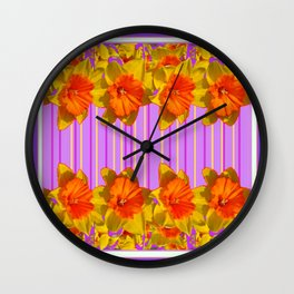 GOLDEN DAFFODILS PURPLE VIOLET MODERN ART Wall Clock