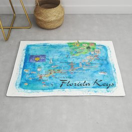 Florida Keys Key West Marathon Key Largo Illustrated Travel Poster Favorite Map Tourist Highlights Rug