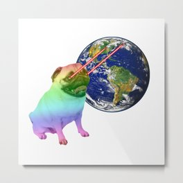 Laser-Eyes Dog - Psychedelic Metal Print