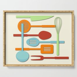 Kitchen Colored Utensil Silhouettes on Cream III Serving Tray
