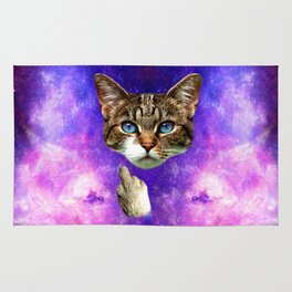 cat Fuck you finger galaxy Rug
