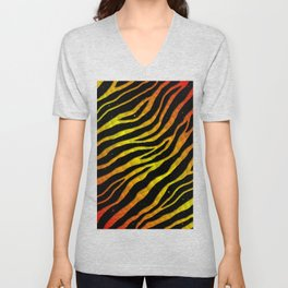 Ripped SpaceTime Stripes - Red/Yellow Unisex V-Neck
