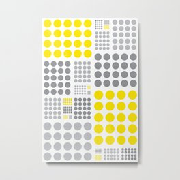 Yellow and Grey Polka Dots Metal Print