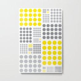90's yellow and grey grid dots Metal Print