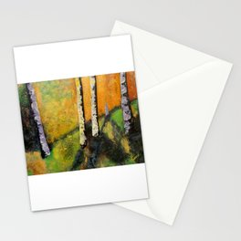 Silver Birch Trees Landscape at Golden Hour Stationery Cards