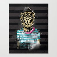 hipster lion Canvas Prints featuring Hipster Lion on Black by Brewer Arts