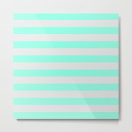 Mint Green & Gray Stripes Metal Print