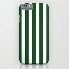 Large Forest Green and White Rustic Vertical Beach Stripes iPhone Case