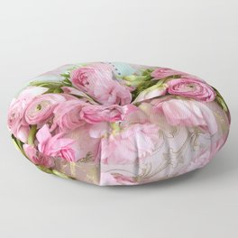 Shabby Chic Cottage Pink Floral Ranunculus Peonies Roses Print Home Decor Floor Pillow