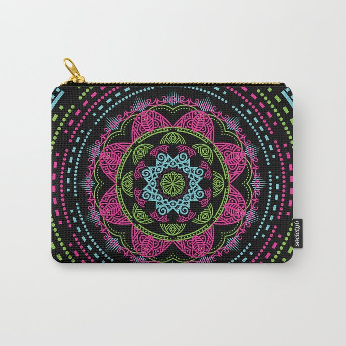 Mandala Energy in Neon Carry-All Pouch