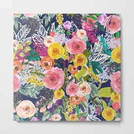 Autumn Blooms Colorful Painted Floral Print // Navy Metal Print