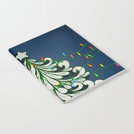 Christmas tree with colorful lights Notebook