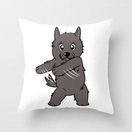 Flossing Scottish Terrier Floss Dance  Throw Pillow