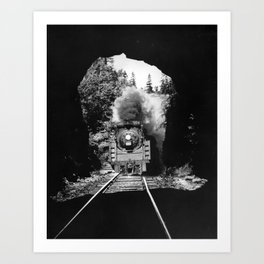 Choo Choo in the Tunnel - Tchou-Tchou dans le Tunnel Art Print