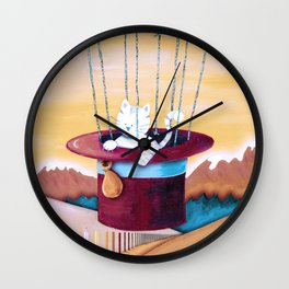 The cat traveling in dreams Wall Clock