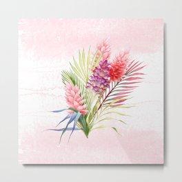 Tropical Watercolor Flowers Metal Print