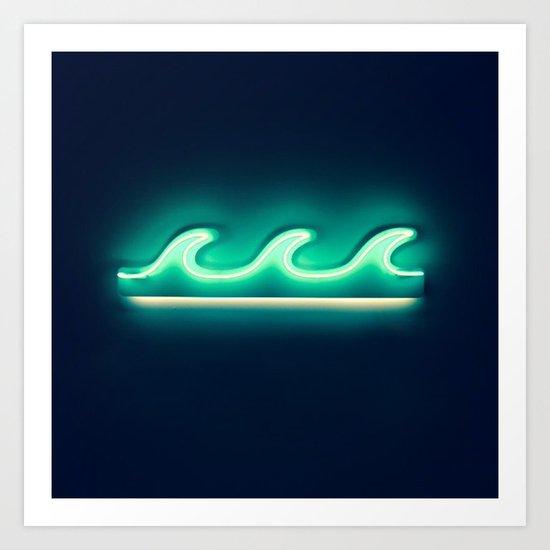 Waves (Neon) Art Print