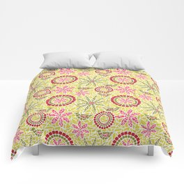 Birds and Flowers Mosaic - Yellow, green and pink Comforters