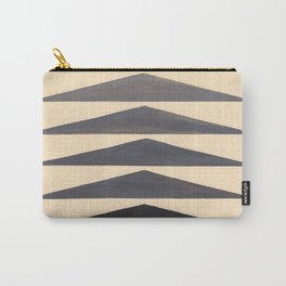 Gray Geometric Triangle Pattern With Black Accent Carry-All Pouch