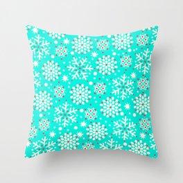 Retro Winter Collection Snowflake Teal Throw Pillow
