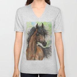 Bay arabian horse Unisex V-Neck