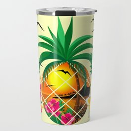 Pineapple Tropical Sunset, Palm Tree and Flowers Travel Mug