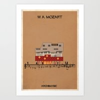 mozart Art Prints featuring Mozart by federico babina