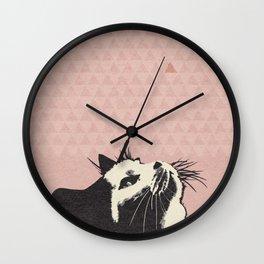 Cat on Pink - Lo Lah Studio Wall Clock