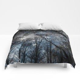 Black Trees Steel Blue Gray Space Comforters