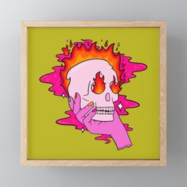 Skull on Fire Framed Mini Art Print
