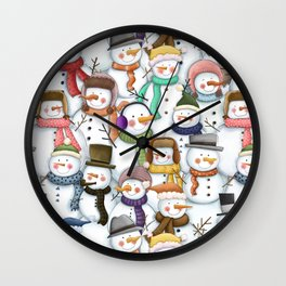 Happy Snowmen Pattern Wall Clock