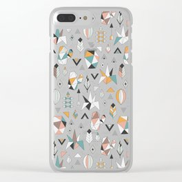 Geometric boho succulents Clear iPhone Case
