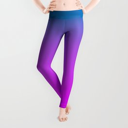 Biscayne Bay Blue to Bright Orlando Orchid Pink Ombre Shade Color Fade Leggings