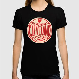 Hand Drawn Baseball for Cleveland Ohio with custom Lettering T-shirt
