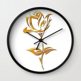 Golden tribal flower Wall Clock