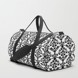 Cresta Damask Pattern Black on White Duffle Bag