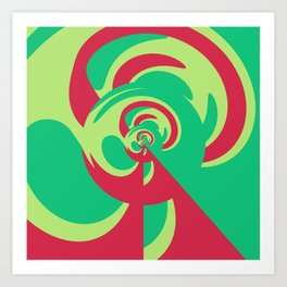 Nouveau Retro Graphic Red and Green Art Print