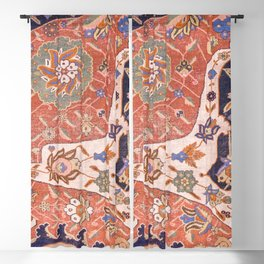 Arabesque Floral IV // 17th Century Rich Red Colors Interlaced Blue Bands Dragons Lions Pattern Rug Blackout Curtain