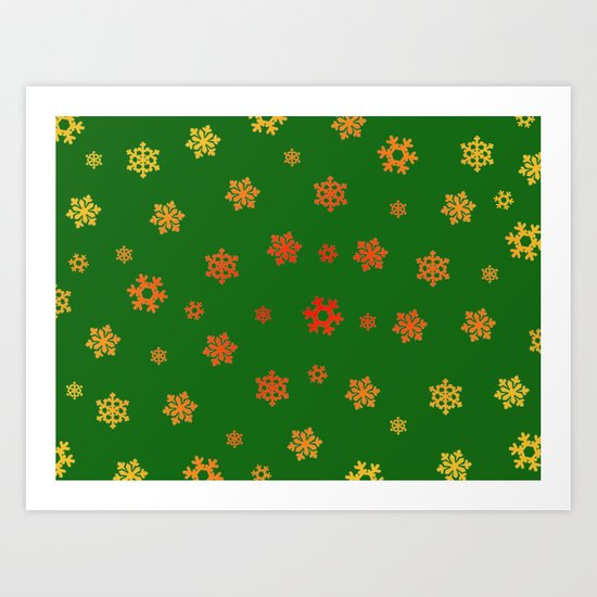 Snowflakes (Red & Gold on Green) Art Print