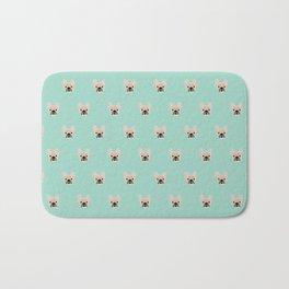Fawn Frenchie Black Mask French Bulldog Print Pattern on Mint Green Background Bath Mat