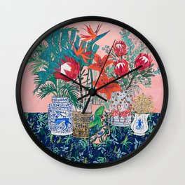 The Domesticated Jungle - Floral Still Life Wall Clock