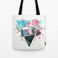 kpop Tote Bags featuring Focus on beauty by Ariana Perez
