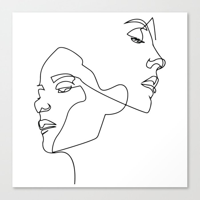 Line art, Line Art Abstract, Continuous Line, Drawing of Set Faces And  Hairstyle, Line art Canvas Print by partprise | Society6