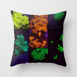 Fluorescent coral collage Throw Pillow